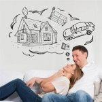 זוג חולם על הדירה והחיים החדשים שלהם